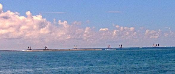 Seven Vaka cruising outside Apia's harbour
