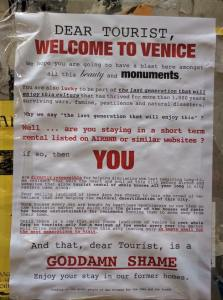 welcome note for tourists to venice